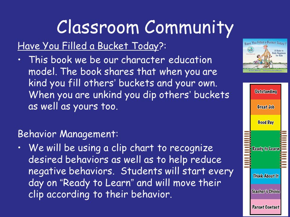 Classroom Community Have You Filled a Bucket Today?: This book we be our character education model. The book shares that when you are kind you fill ot