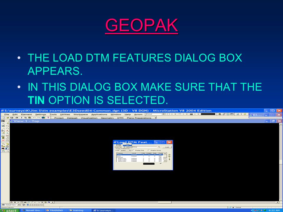 GEOPAK THE LOAD DTM FEATURES DIALOG BOX APPEARS.