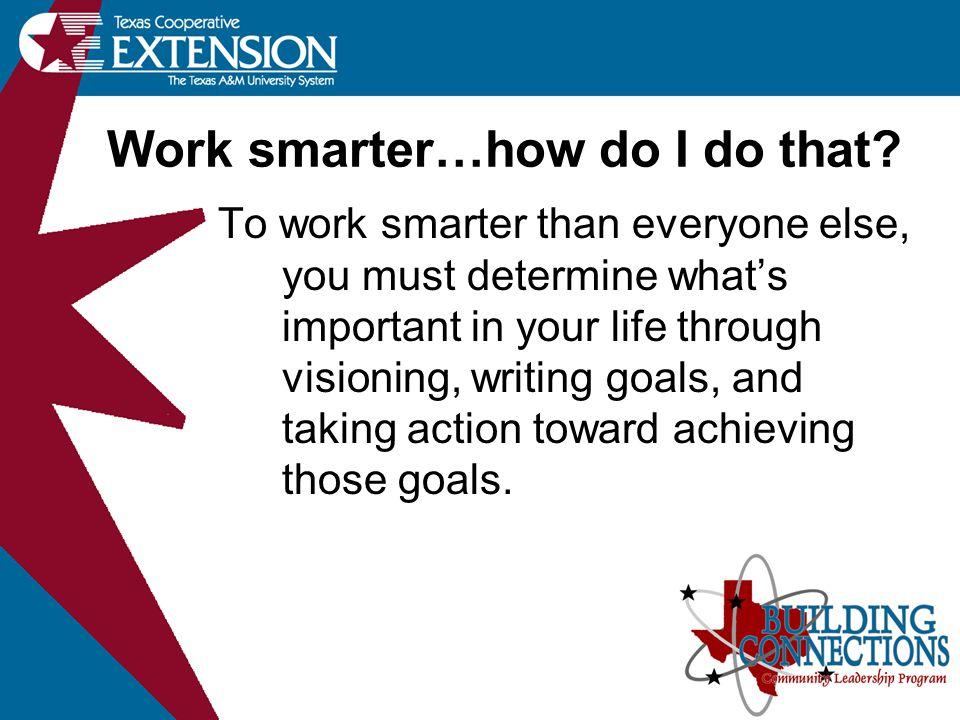 Work smarter…how do I do that.