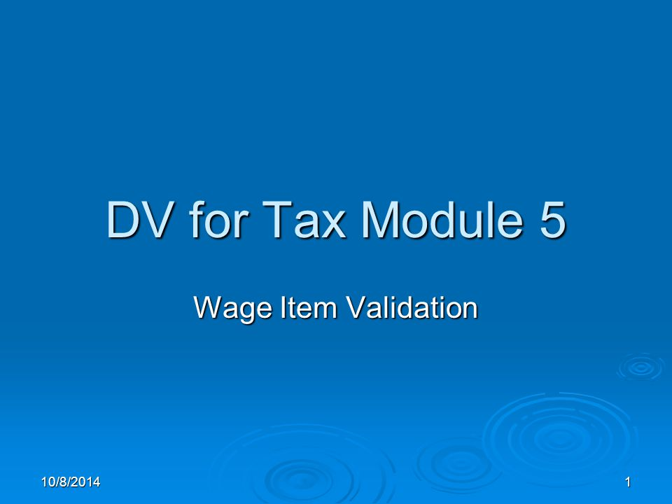 10/8/20141 DV for Tax Module 5 Wage Item Validation