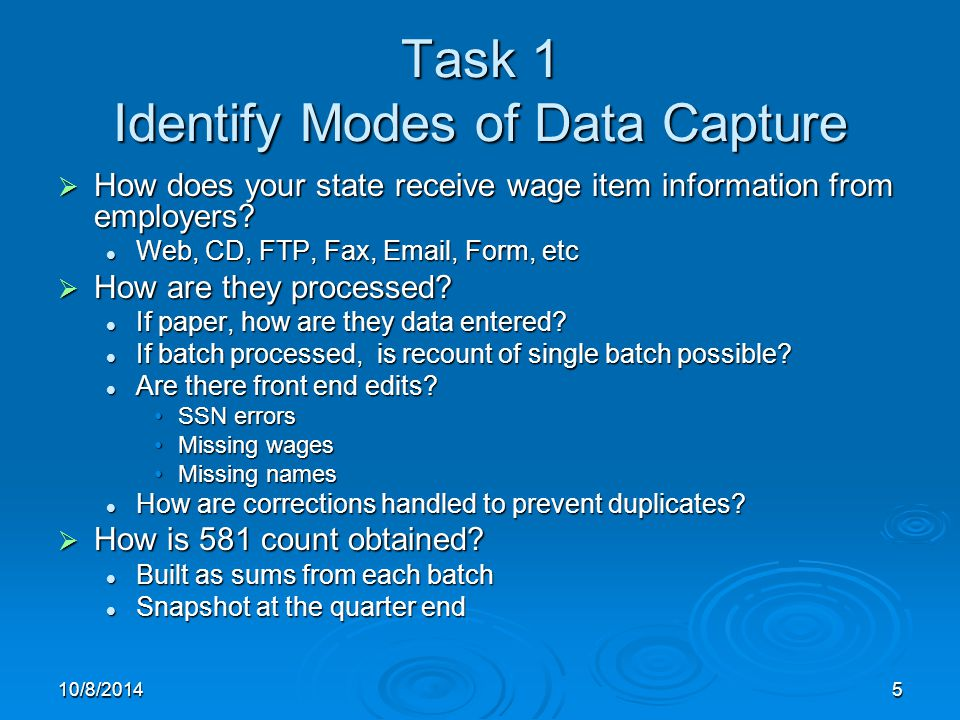 10/8/20145 Task 1 Identify Modes of Data Capture  How does your state receive wage item information from employers.