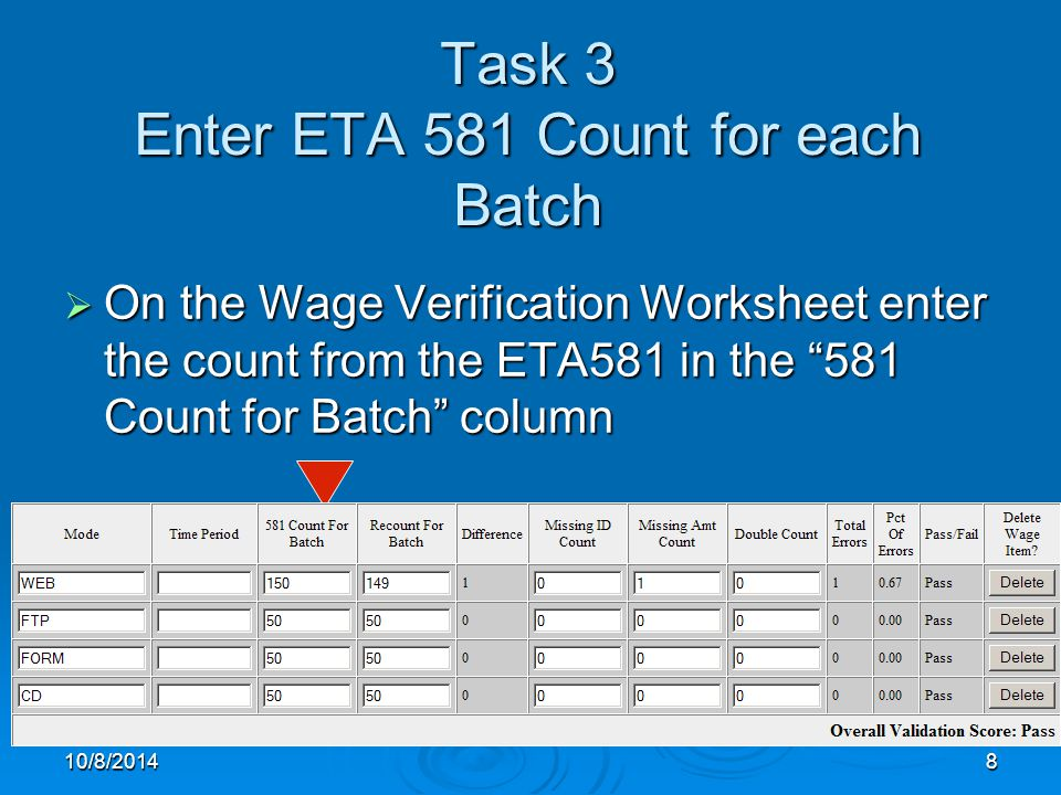 10/8/20148 Task 3 Enter ETA 581 Count for each Batch  On the Wage Verification Worksheet enter the count from the ETA581 in the 581 Count for Batch column