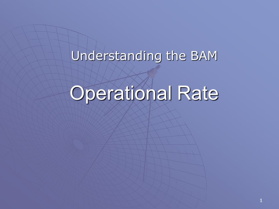 1 Operational Rate Understanding the BAM