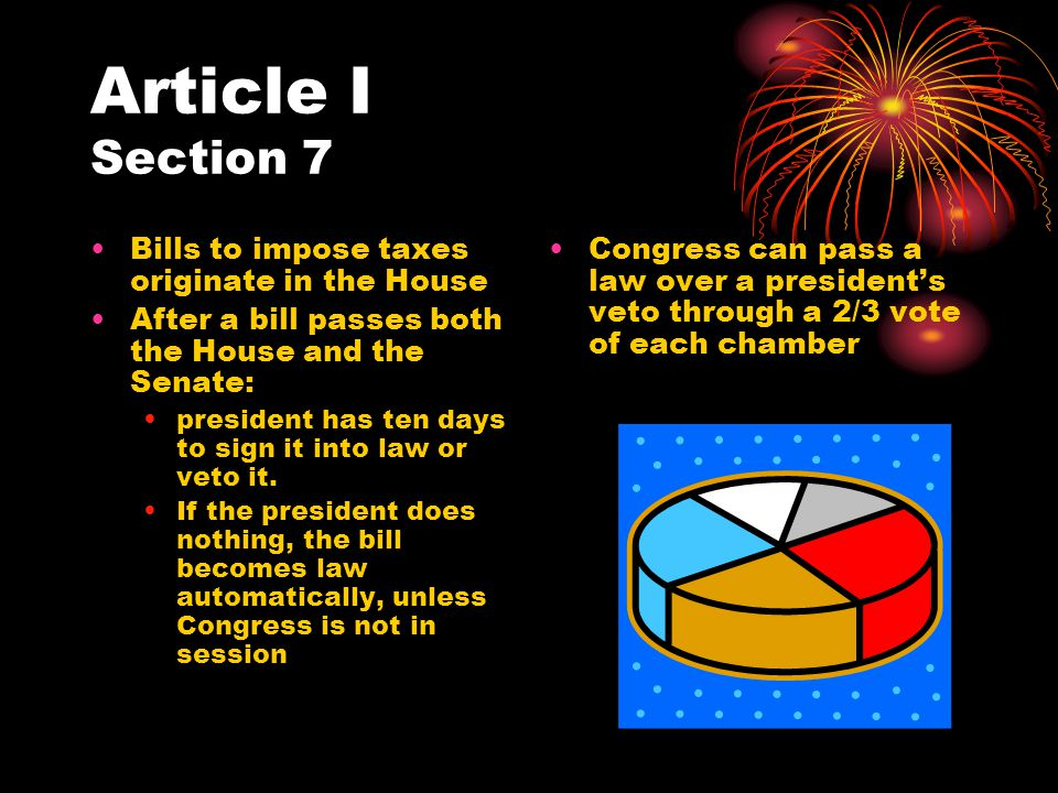 Article I Section 7 Bills to impose taxes originate in the House After a bill passes both the House and the Senate: president has ten days to sign it