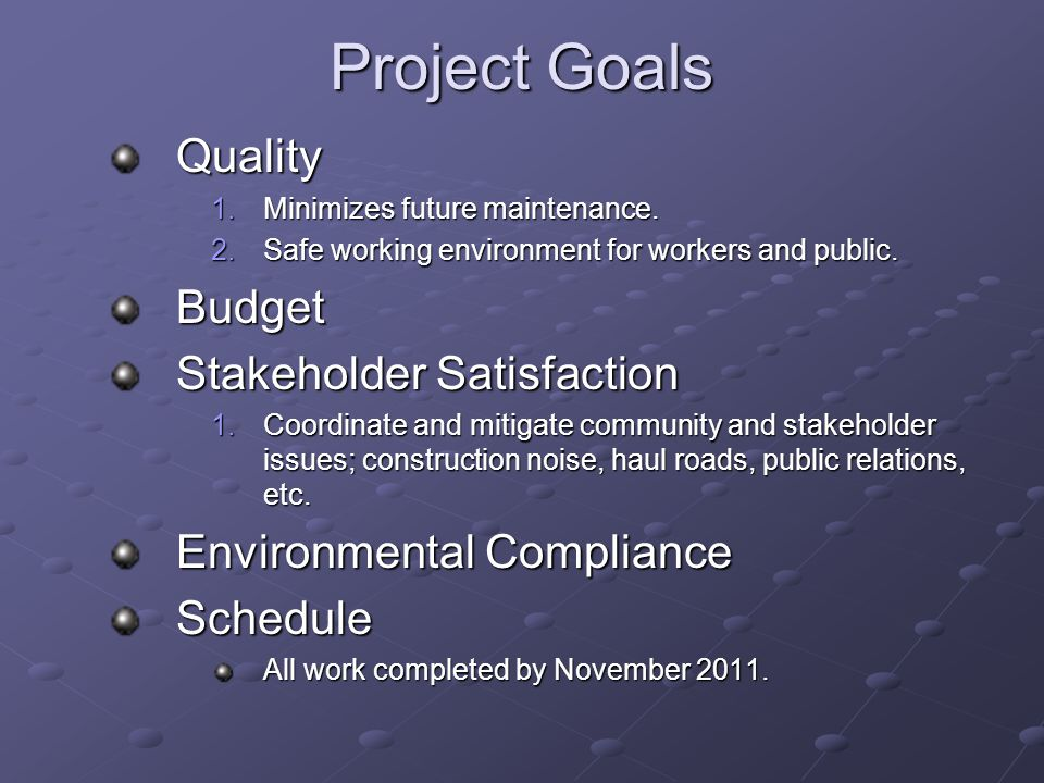 Project Goals Quality 1.Minimizes future maintenance.
