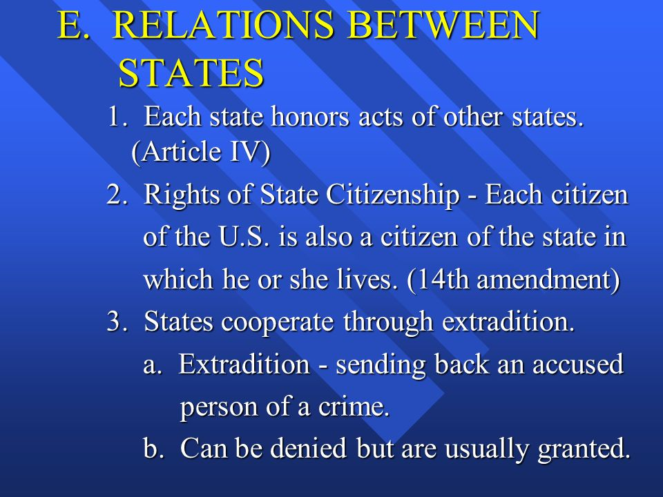 E. RELATIONS BETWEEN STATES 1. Each state honors acts of other states. (Article IV) 2. Rights of State Citizenship - Each citizen of the U.S. is also