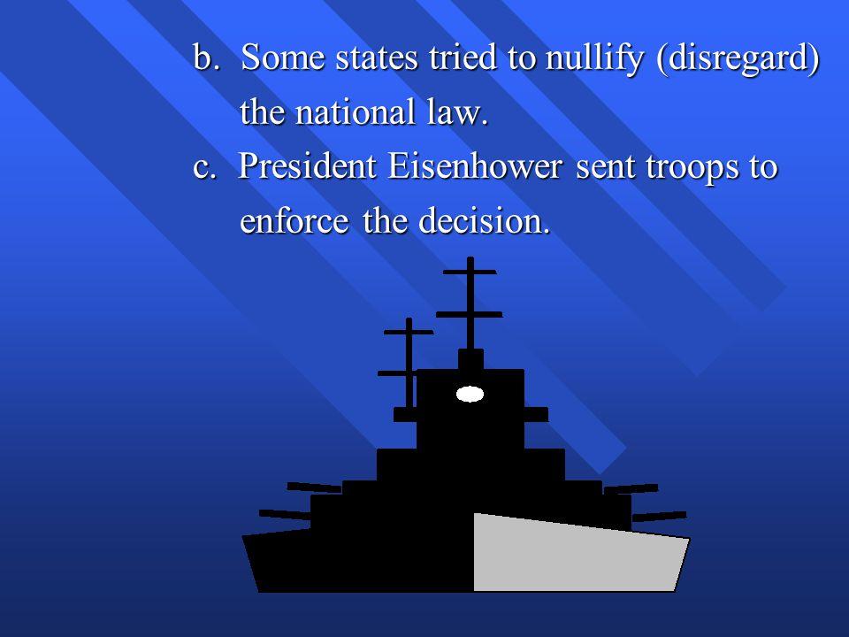 b.Some states tried to nullify (disregard) b.