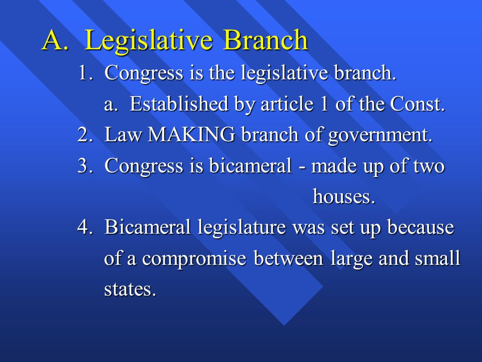 A. Legislative Branch 1. Congress is the legislative branch. a. Established by article 1 of the Const. a. Established by article 1 of the Const. 2. La