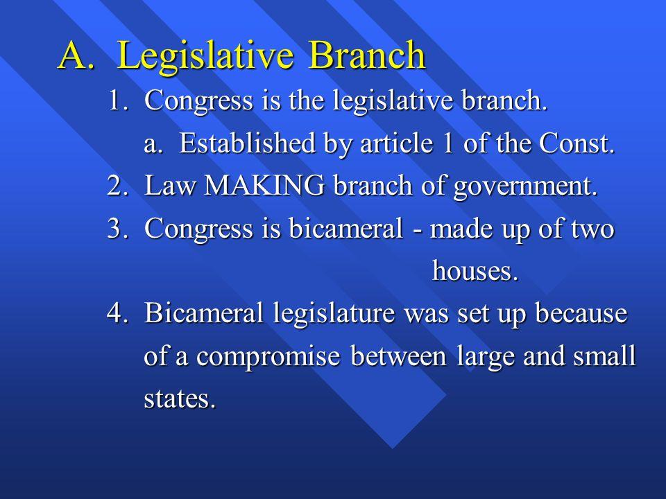 A.Legislative Branch 1. Congress is the legislative branch.