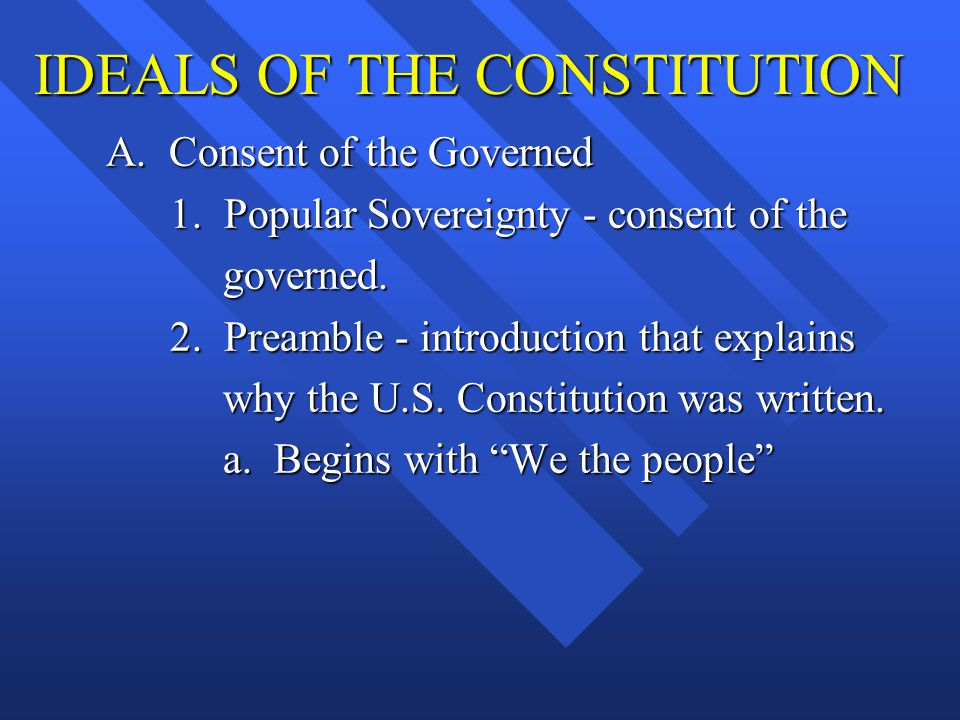 IDEALS OF THE CONSTITUTION A. Consent of the Governed 1. Popular Sovereignty - consent of the 1. Popular Sovereignty - consent of the governed. govern