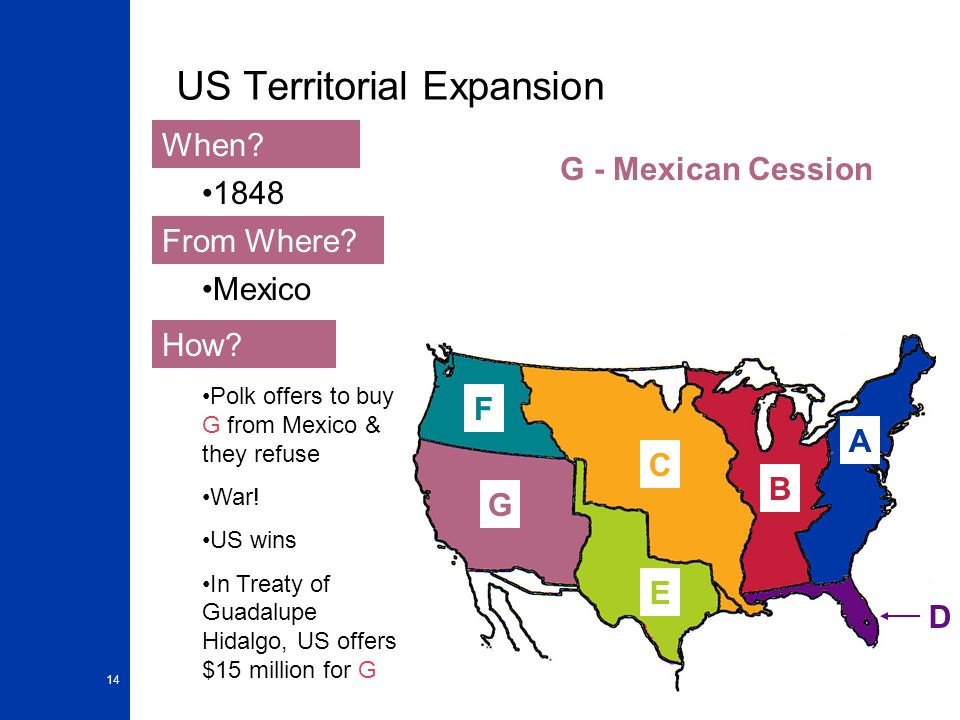 14 US Territorial Expansion A When? From Where? How? 1848 Mexico Polk offers to buy G from Mexico & they refuse War! US wins In Treaty of Guadalupe Hi