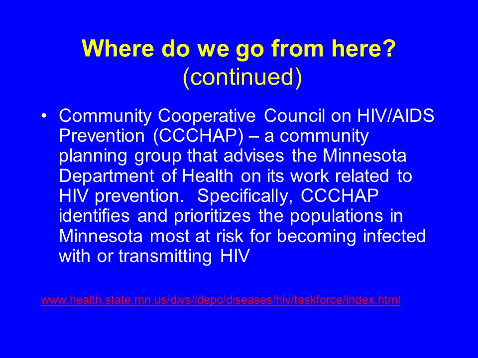 Where do we go from here? (continued) Community Cooperative Council on HIV/AIDS Prevention (CCCHAP) – a community planning group that advises the Minn