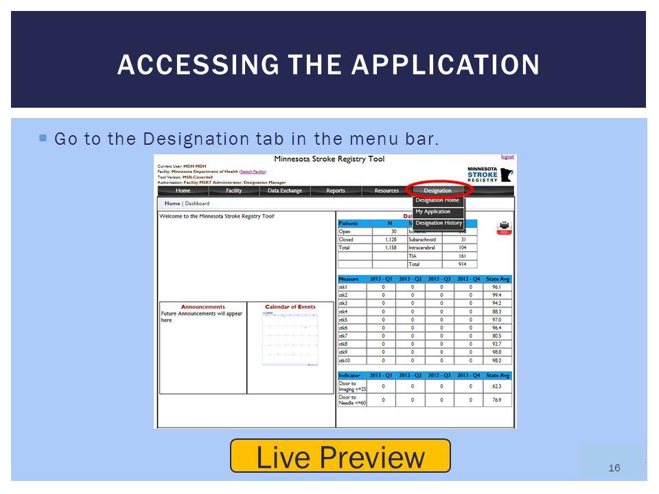  Go to the Designation tab in the menu bar. ACCESSING THE APPLICATION Live Preview 16