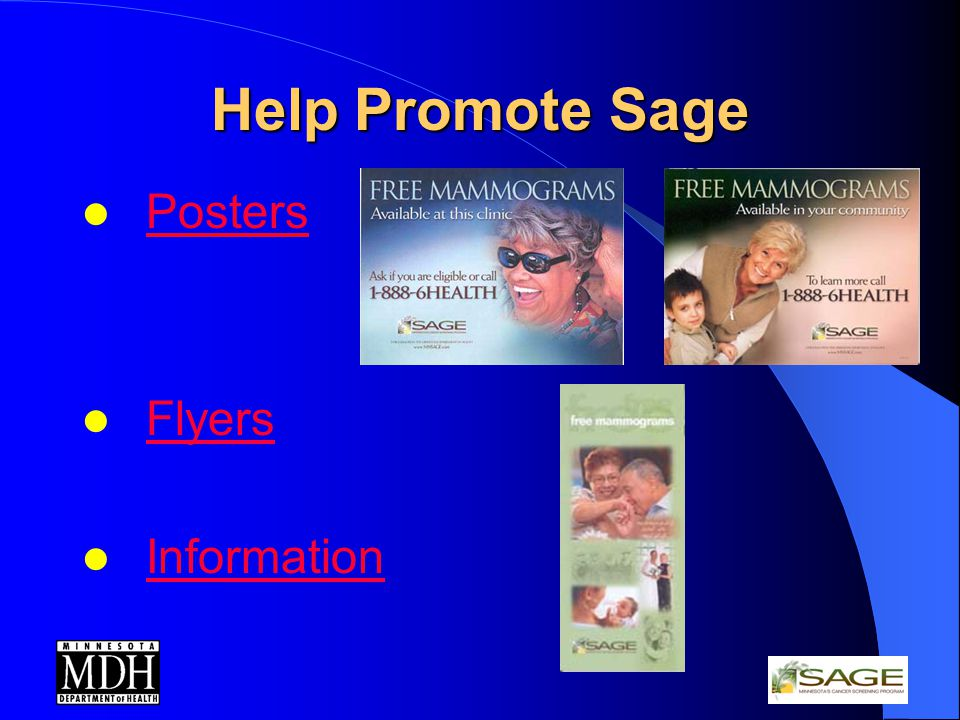 Help Promote Sage Posters Flyers Information