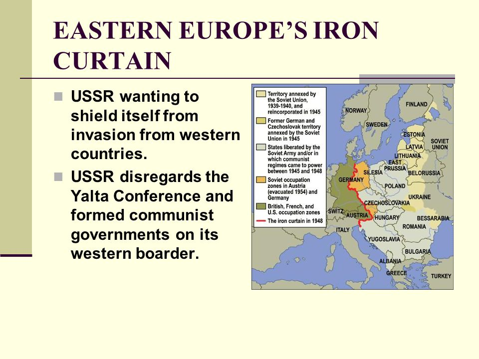 EASTERN EUROPE'S IRON CURTAIN Continued… July 1945: Potsdam Conference is held.