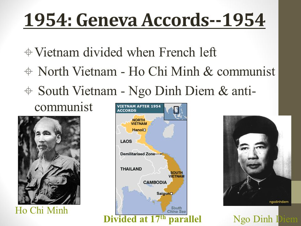 1954: Geneva Accords--1954 Ho Chi Minh Ngo Dinh DiemDivided at 17 th parallel  Vietnam divided when French left  North Vietnam - Ho Chi Minh & commu