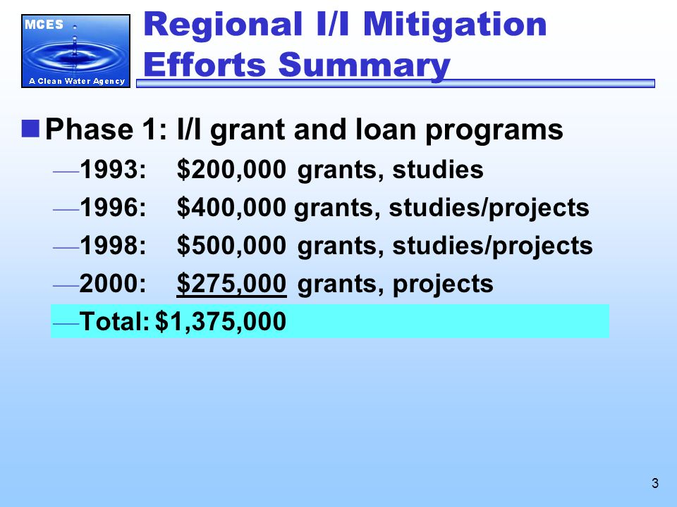 3 Phase 1: I/I grant and loan programs — 1993: $200,000 grants, studies — 1996: $400,000 grants, studies/projects — 1998: $500,000 grants, studies/projects — 2000: $275,000 grants, projects — Total:$1,375,000 Regional I/I Mitigation Efforts Summary