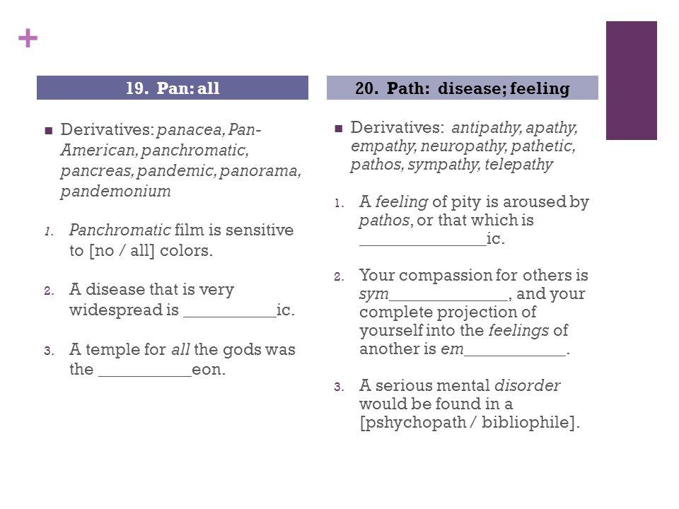 + Derivatives: panacea, Pan- American, panchromatic, pancreas, pandemic, panorama, pandemonium 1.