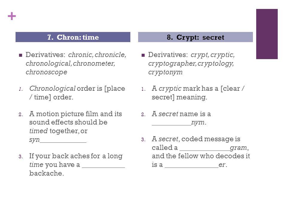 + Derivatives: chronic, chronicle, chronological, chronometer, chronoscope 1.