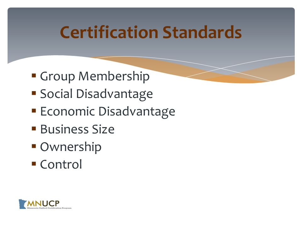 A Disadvantaged Business Enterprise (DBE) is a for- profit small business that is:  At least 51% owned by one or more individuals who are socially and economically disadvantaged  Managed, operated and controlled by one or more of the socially and economically disadvantaged owners Certification Standards