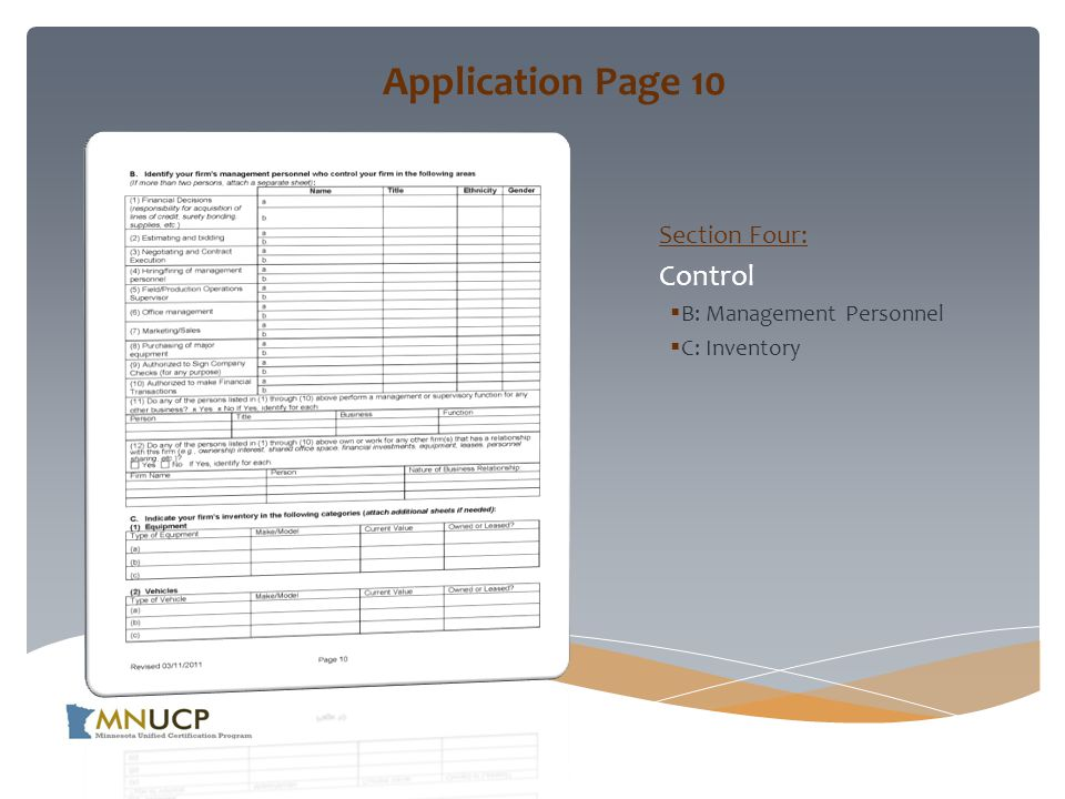 Application Page 10 Section Four: Control  B: Management Personnel  C: Inventory