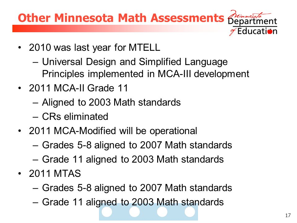 17 Other Minnesota Math Assessments 2010 was last year for MTELL –Universal Design and Simplified Language Principles implemented in MCA-III developme