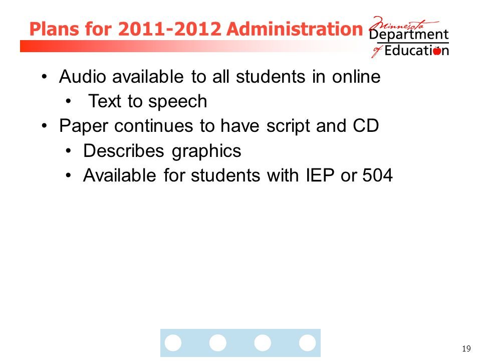 19 Plans for 2011-2012 Administration Audio available to all students in online Text to speech Paper continues to have script and CD Describes graphic
