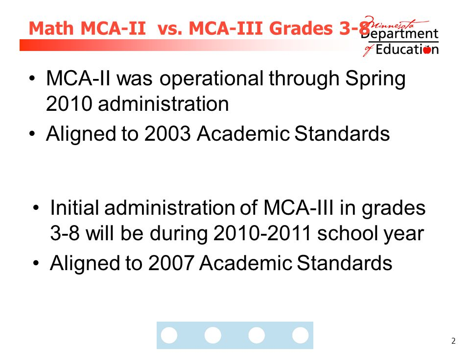 2 Math MCA-II vs. MCA-III Grades 3-8 MCA-II was operational through Spring 2010 administration Aligned to 2003 Academic Standards Initial administrati