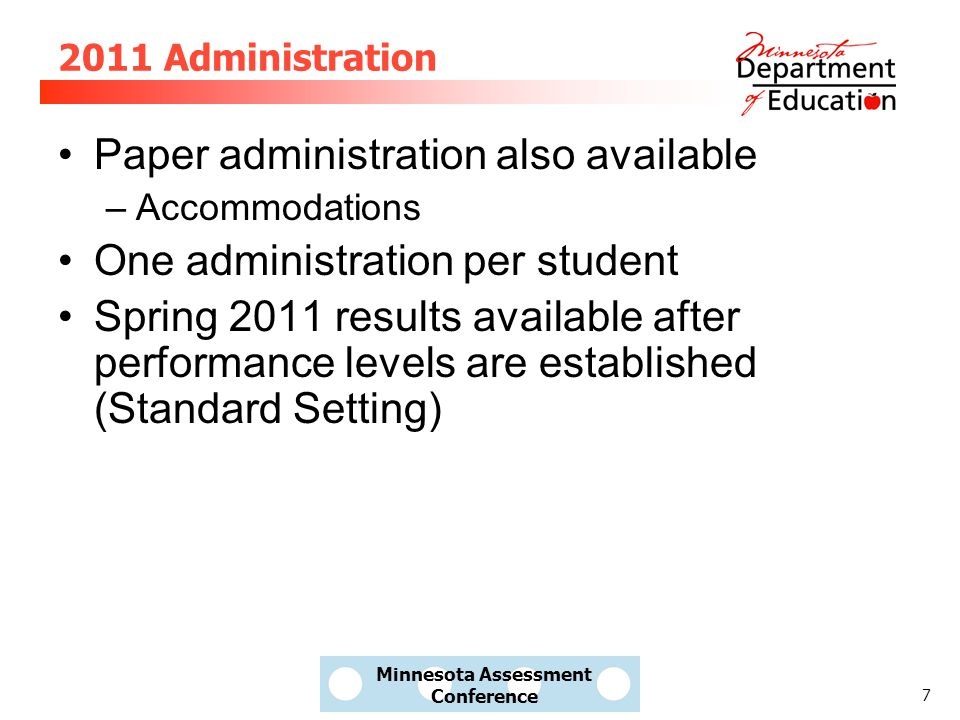 8 2011 Administration Audio available to all students in online On-demand – controlled by the student Does not describe graphics Audio pauses when there is text in the item that is not read (graphics, expressions, numbers) Vast majority of students' audio needs should be met Paper continues to have script and CD Describes graphics Available for students with IEP or 504