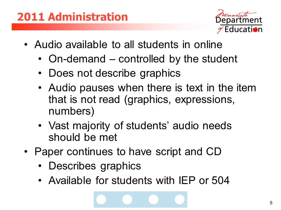 8 2011 Administration Audio available to all students in online On-demand – controlled by the student Does not describe graphics Audio pauses when the