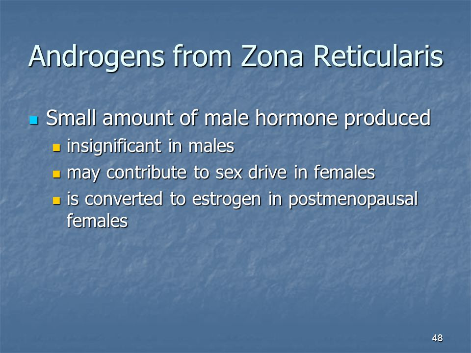 48 Androgens from Zona Reticularis Small amount of male hormone produced Small amount of male hormone produced insignificant in males insignificant in