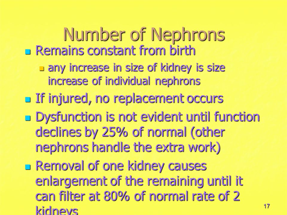 17 Number of Nephrons Remains constant from birth Remains constant from birth any increase in size of kidney is size increase of individual nephrons any increase in size of kidney is size increase of individual nephrons If injured, no replacement occurs If injured, no replacement occurs Dysfunction is not evident until function declines by 25% of normal (other nephrons handle the extra work) Dysfunction is not evident until function declines by 25% of normal (other nephrons handle the extra work) Removal of one kidney causes enlargement of the remaining until it can filter at 80% of normal rate of 2 kidneys Removal of one kidney causes enlargement of the remaining until it can filter at 80% of normal rate of 2 kidneys