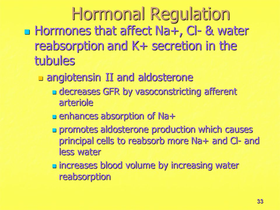 33 Hormonal Regulation Hormones that affect Na+, Cl- & water reabsorption and K+ secretion in the tubules Hormones that affect Na+, Cl- & water reabsorption and K+ secretion in the tubules angiotensin II and aldosterone angiotensin II and aldosterone decreases GFR by vasoconstricting afferent arteriole decreases GFR by vasoconstricting afferent arteriole enhances absorption of Na+ enhances absorption of Na+ promotes aldosterone production which causes principal cells to reabsorb more Na+ and Cl- and less water promotes aldosterone production which causes principal cells to reabsorb more Na+ and Cl- and less water increases blood volume by increasing water reabsorption increases blood volume by increasing water reabsorption