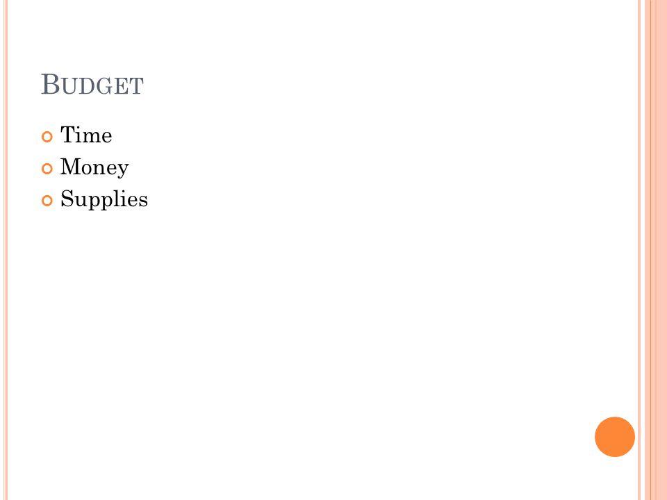 B UDGET Time Money Supplies