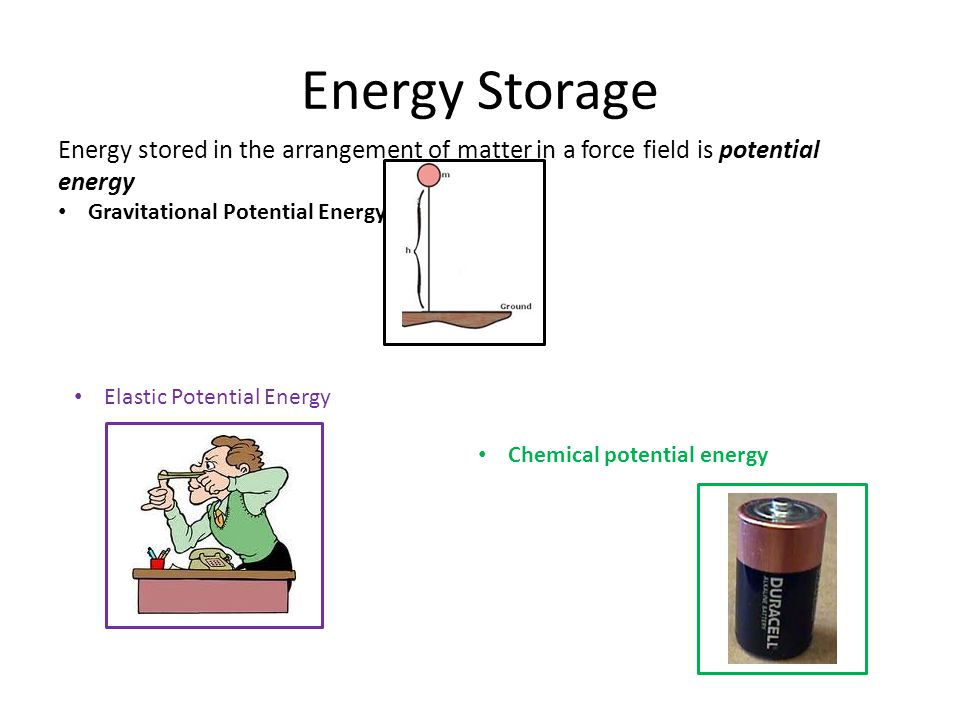 Energy Storage Energy stored in the arrangement of matter in a force field is potential energy Gravitational Potential Energy Chemical potential energy Elastic Potential Energy