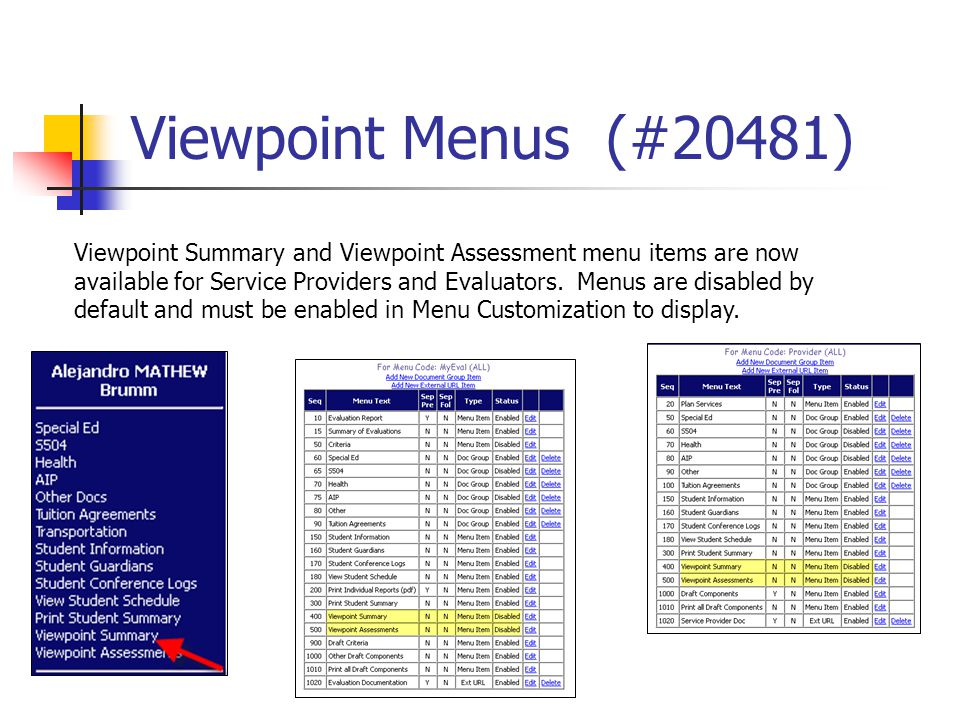 Viewpoint Menus (#20481) Viewpoint Summary and Viewpoint Assessment menu items are now available for Service Providers and Evaluators. Menus are disab