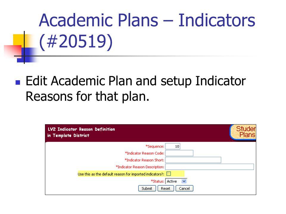 Academic Plans – Indicators (#20519) Edit Academic Plan and setup Indicator Reasons for that plan.