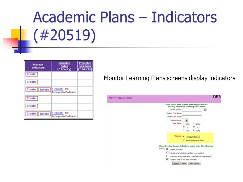 Academic Plans – Indicators (#20519) Monitor Learning Plans screens display indicators