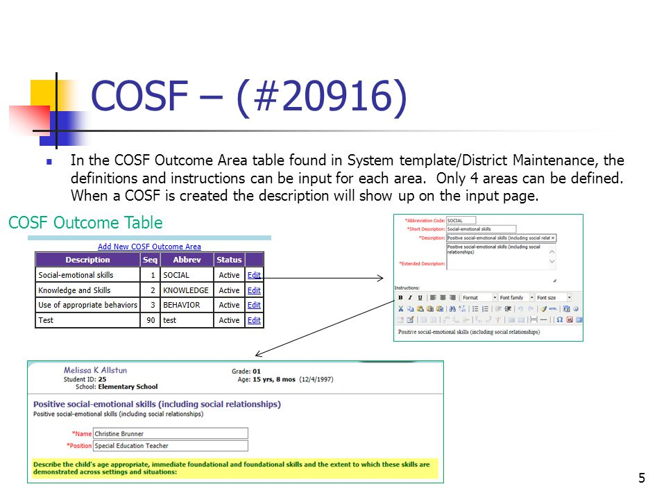 COSF – (#20916) In the COSF Outcome Area table found in System template/District Maintenance, the definitions and instructions can be input for each a