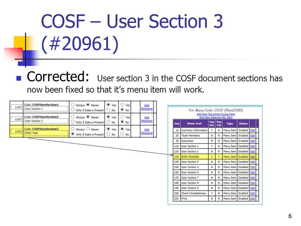 COSF – User Section 3 (#20961) Corrected: User section 3 in the COSF document sections has now been fixed so that it's menu item will work.