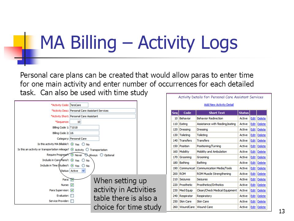 13 MA Billing – Activity Logs Personal care plans can be created that would allow paras to enter time for one main activity and enter number of occurrences for each detailed task.