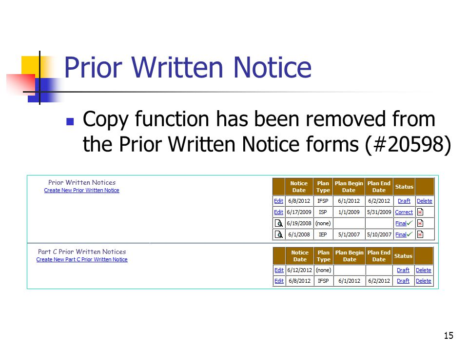 Prior Written Notice Copy function has been removed from the Prior Written Notice forms (#20598) 15