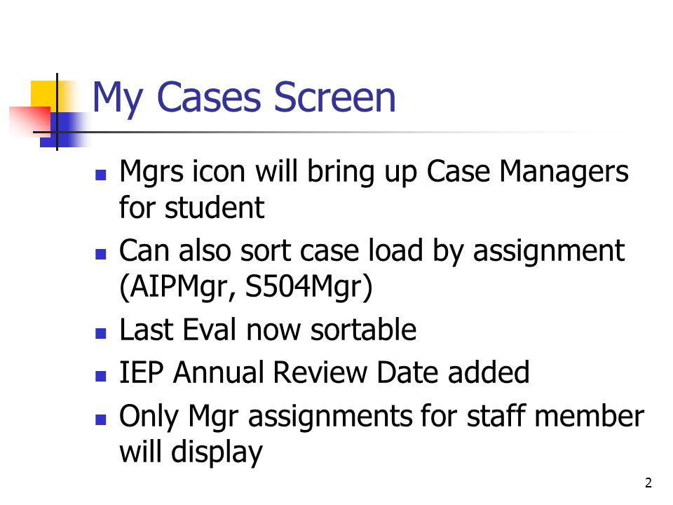Manage Cases (#12744) Case loads can now be easily moved from one case manager to another 1.Search for manager to move case load FROM 2.Select new case manager 3.Assign all to new manager