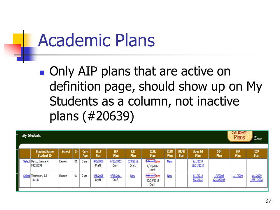 Academic Plans Only AIP plans that are active on definition page, should show up on My Students as a column, not inactive plans (#20639) 37