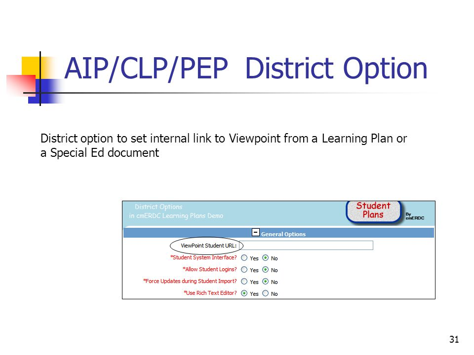 31 AIP/CLP/PEP District Option District option to set internal link to Viewpoint from a Learning Plan or a Special Ed document