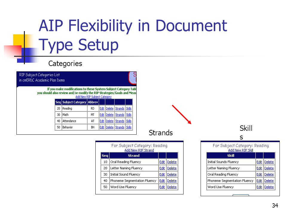 34 AIP Flexibility in Document Type Setup Categories Strands Skill s