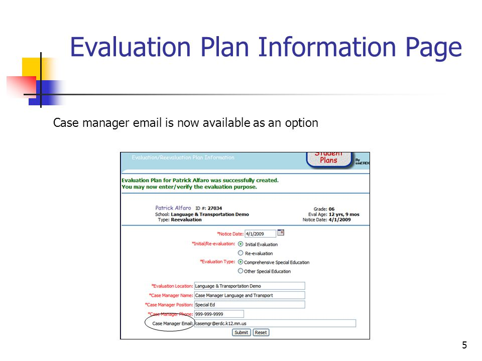 5 Evaluation Plan Information Page Case manager email is now available as an option
