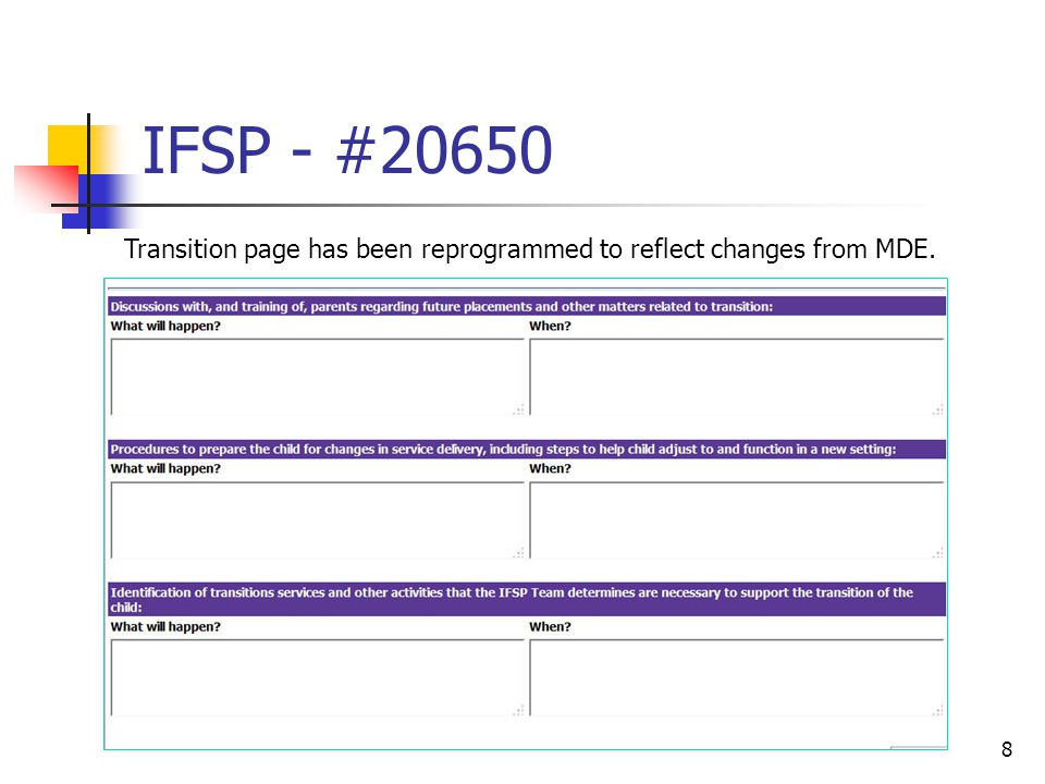 IFSP - #20708 9 If the IFSP is linked to a team meeting in Student Plans and required meeting positions option is used the Team Meeting Role will be looked up and the (District Representative, Special Ed Teacher in the area of disability, etc.) for each staff member listed in Team Membership will be printed.