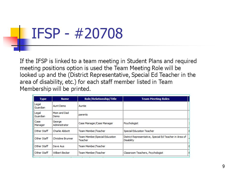 IFSP - #20708 9 If the IFSP is linked to a team meeting in Student Plans and required meeting positions option is used the Team Meeting Role will be l