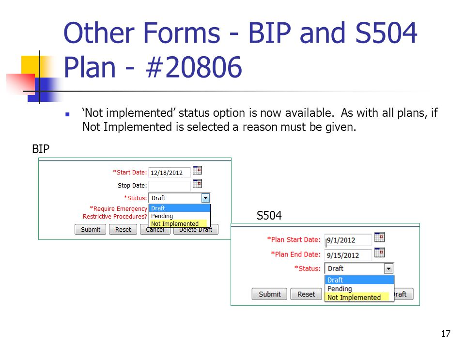 Other Forms - BIP and S504 Plan - #20806 'Not implemented' status option is now available.